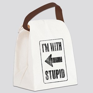 Vintage I'm With Stupid [l] Canvas Lunch Bag